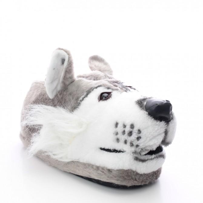 chaussons rigolos pour homme en forme de loup