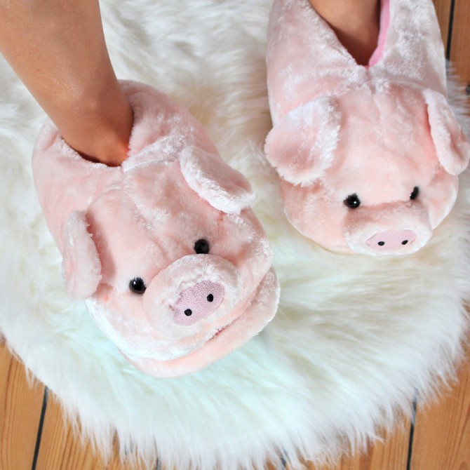 chaussons femme en forme de cochon