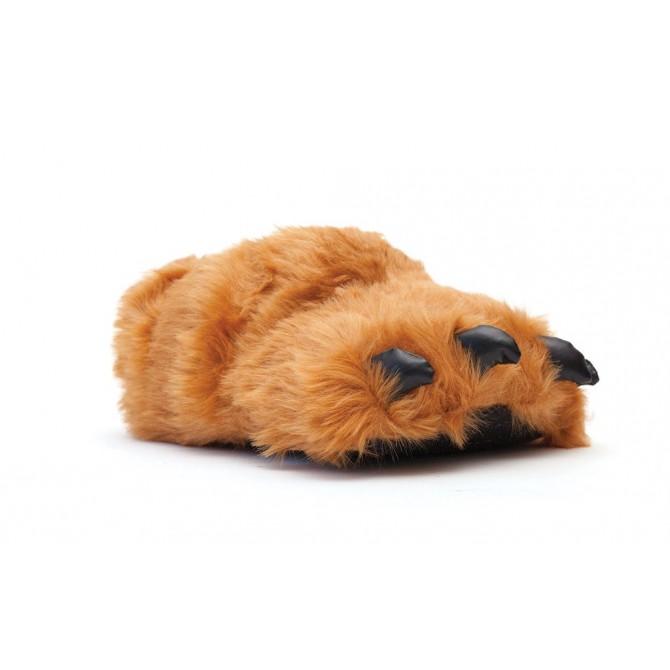 chaussons homme rigolos patte d'ours marron