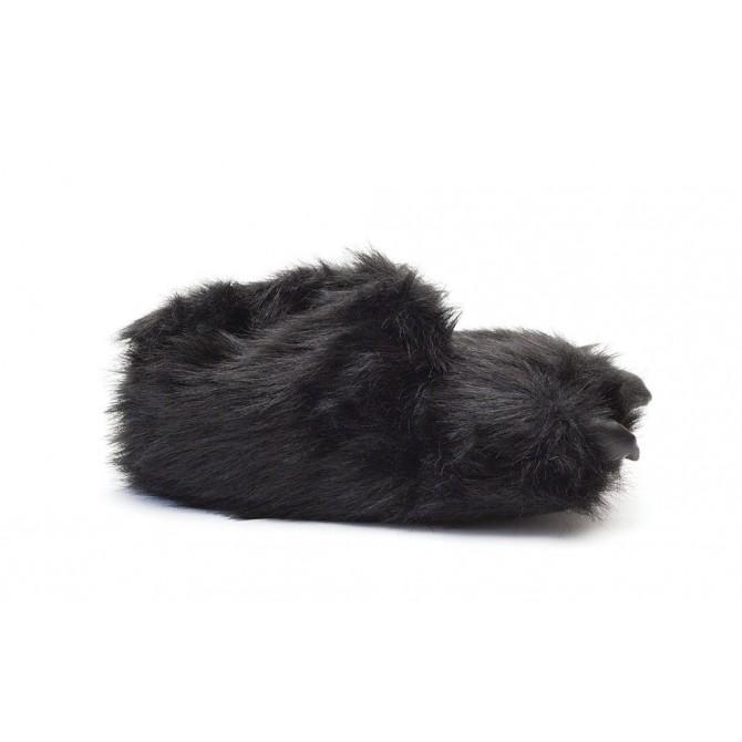chaussons homme rigolos patte d'ours noir