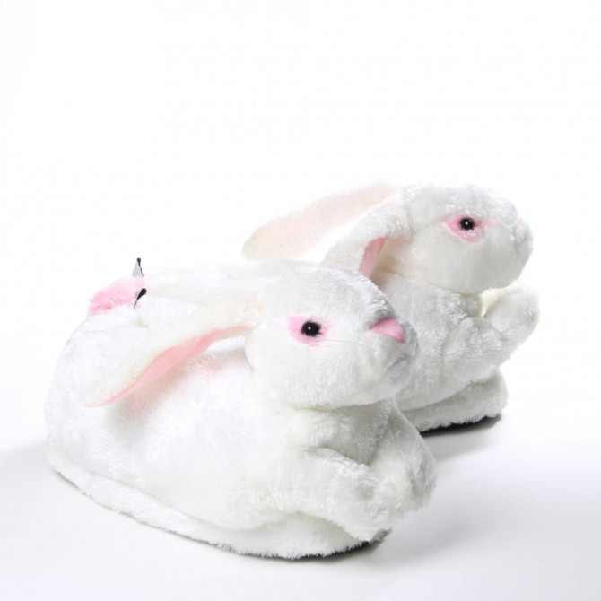 f264e47240050 Chaussons animaux Lapin blanc pour homme