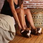 chaussons femme et homme en forme de lapin